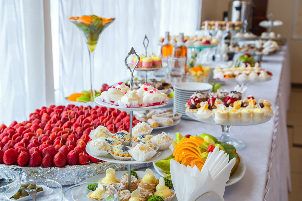 Wedding desserts buffet table for brunch wedding catering near me